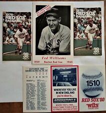 1976 1980  Boston Red Sox Baseball Pocket Schedules