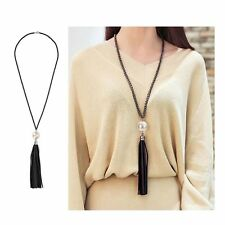 Long Chain Leather Sweater Necklace Pearl Beads Tassel