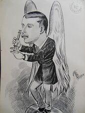 Original Christopher Davis Caricature Portrait c1886 - Victorian Politician?