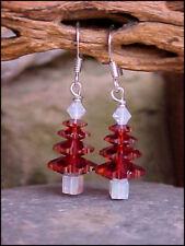 Swarovski Crystal Elements 'Red Magma' Christmas Tree Earrings #25