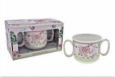 Bird & Ellie Pink Double Handled Ceramic Mug Christening Gift Pink