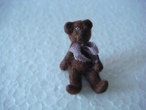 """Tiny Dollhouse Detailed Miniature Felted Bear 3/4"""" high"""