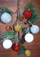 4 x Christmas Tree Decoration  White Snow Silver Gold Tinsel Bauble glitter Xmas