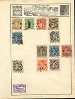 album sheet of a numerous early 1900s cochin anchal stamps & 1 charkhar state