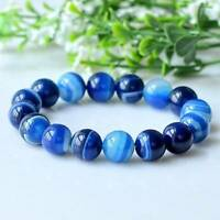 6MM Natural Sea Blue Agate Bracelet Blue Sky Jewelry Stone Bracelet