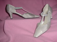 """Silver Sparkly T-Strap w/Patent ELASTIC Pump """"Medisa"""" by J Renee 11WW EXTRA WIDE"""