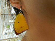 ONG REAL Lemon Emigrant Butterfly Wings Earring Jewelry 925Sterling Stunning