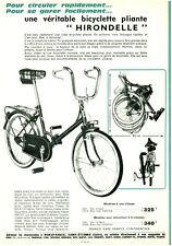 Publicité ancienne bicyclette cadre pliant  Hirondelle 1966 issue de magazine
