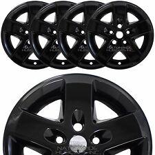 """4 BLACK 2007-2016 Jeep Wrangler 17"""" Wheel Skins Hub Caps Bolt On Full Rim Covers"""