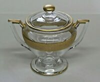 """Vintage Heisey Glass Covered Candy Dish Clear Glass Gold Trim 5 1/4"""" tall"""