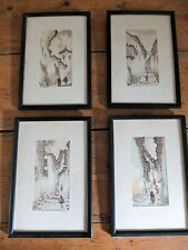 4 x vintage pen and ink drawings of Ecuador framed