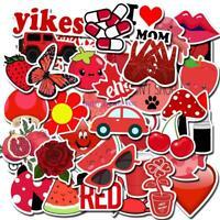 50 Pcs Red Cute Graffiti Series Suitcase Trolley Case Laptop Waterproof Sticker