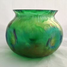 Green ART NOUVEAU Czech / Bohemian iridescent Glass Bowl - Loetz ?
