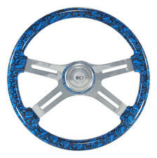 "4 Spoke 18"" Blue ""Skulls"" Steering Wheel 3-Hole for Freightliner, Peterbilt, KW+"