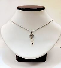 "18k White Gold ""Key to My Heart"" Pendent with Diamonds and 16"" chain ."