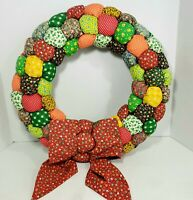 "Vintage  Patchwork Calico Fabric 17"" Wreath Stuffed Puffy Handmade Cottage Core"