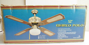 """NEW Marco Polo 52"""" Antique Brass Ceiling Fan w/Cane Insert Blades and Light Kit"""