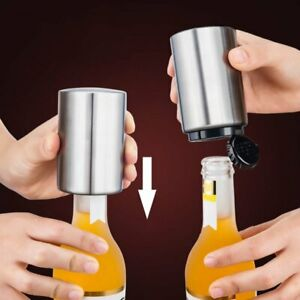 Automatic Stainless Steel Beer Soda Opener with Magnetic Push Down Bottle Opener
