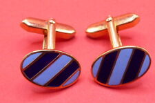 , Gold Toned , (C1093) Cufflinks, Blue & Navy Enamelled