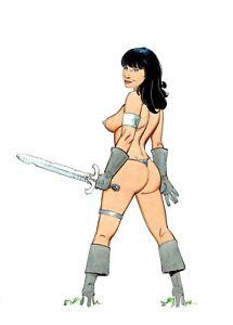 Sexy Warrior Girl fantasy pin up original color  art  by Paradis
