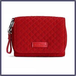 NWT Vera Bradley Iconic RFID Card Case Mini Wallet in Cardinal Red Microfiber