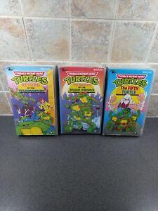 3 X TEENAGE MUTANT HERO TURTLES VHS VIDEOS PUNK FROGS,TECHNODROME, FIFTH TURTLE