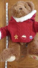 Harrods bear with red embroidered foot & Christmas jumper      1/11