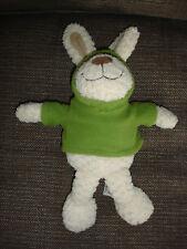 Cuddles Time Crema Beige CONIGLIETTO Giocattolo Morbido in Pile con Cappuccio Verde Muschio Top