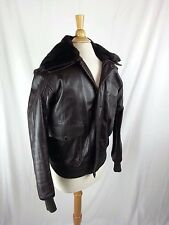 WILSONS SUEDE & LEATHER BROWN JACKET SIZE 40 Faux Fur Lining & Collar