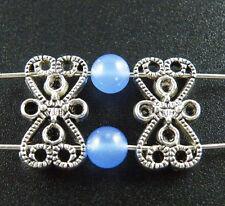 90pcs Tibetan Silver 2Holes Flower Spacer Beads 18x10mm 10318