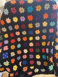 "Vintage Granny Square Crochet Afghan Blanket Throw 78"" x 55"" Black Multi Colors"