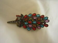 Women Lady Vintage colorful Peacock Hair Clip Rhinestone Barrette Hairpin