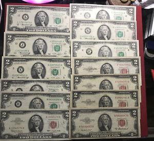 USA 13 x 2 Dollars Banknoten 1953 - 1995 (2)