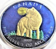 (2011) 1 oz Canada Colorized  Timber Wolf Wildlife .999 Silver Coin 1