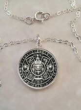 Sterling Silver 925 Pendant Necklace Aztec Indigenous Mexico Mesoamerica art