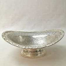 More details for walker and hall bonbon dish pierced silver plate vintage footed monogrammed