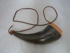 Vintage Gun Priming Powder Horn Flask Muzzleloader Handmade Carved Wood Black