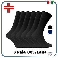 Set 6 paia Calze da uomo sanitarie corte calzini in misto lana senza elastico