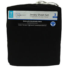 Mainstays TWIN Black Jersey Sheet Set Extra Soft Breathable Fabric Single Bed