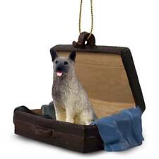 Norwegian Elkhound Traveling Companion Dog Figurine In SuitCase Ornament