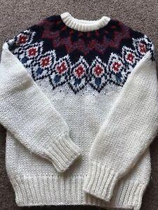 "Beautiful Vintage Icelandic Acrylic Iceland Nordic Ivory Hand Knit Jumper 34"" S"
