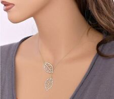New Fashion Women Gold/Silver Leaf Pendant Charm Plated Party Chain Necklace