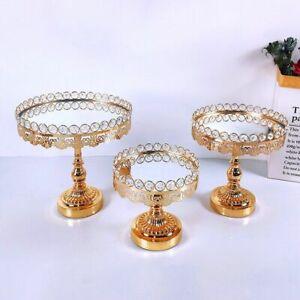 Gold Wedding Cake Stand Birthday Acrylic Mirror High Base Plate Round Display