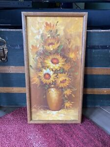 "Vintage Sunflower Still Life Oil Painting 13.5""x26"" Signed and Framed"