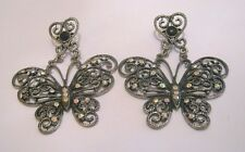butterfly earrings white stones large Great dark silver tone statement style