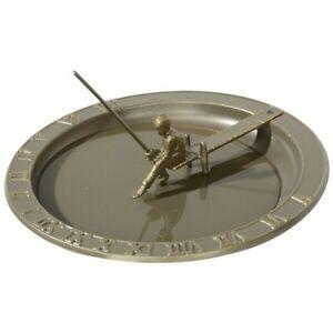 Ornate Fisher Boy Sundial Bird Bath Whitehall - Oil Rubbed Bronze