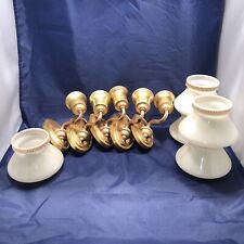 Set Of Five 5 Mid Century Yellow Brass Slip Shade Sconces Rewired 43C
