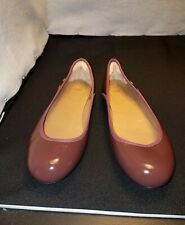NWOB W's US10/EU41 UGG Earthy Berry Brown Patent Lea SLIP ON SHOES BALLET FLATS