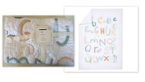 New Pottery Barn Kids PBK Rowen ABC Alphabet Letters White Toddler Crib Quilt