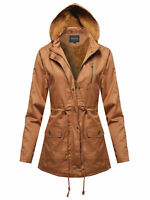 FashionOutfit Women's Military Button & Zipper Hooded Parka Anorak Jacket w/ Fau